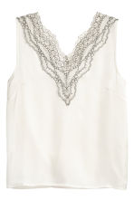 Satin top with lace - Natural white - Ladies | H&M 1