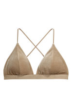 Crushed velvet bikini top - Dark beige - Ladies | H&M 1