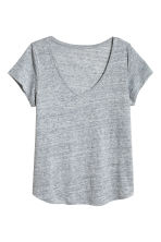 H&M+ V-neck linen top - Grey marl - Ladies | H&M 2