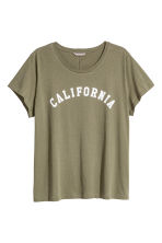 H&M+ Printed jersey top - Khaki green - Ladies | H&M 2