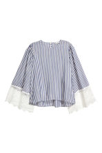Wide-sleeved blouse - Dark blue/Striped -  | H&M CN 2
