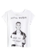 Short-sleeved top - White/Justin Bieber -  | H&M 2