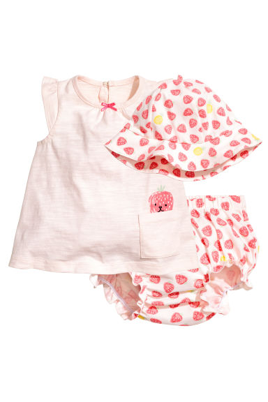 3-piece jersey set - Powder pink/Strawberries - Kids | H&M 1