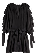 Playsuit with balloon sleeves - Black - Ladies | H&M CN 2