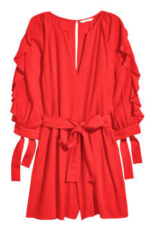 Playsuit with balloon sleeves