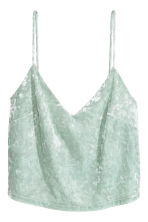 Crushed velvet strappy top - Mint green - Ladies | H&M CN 2