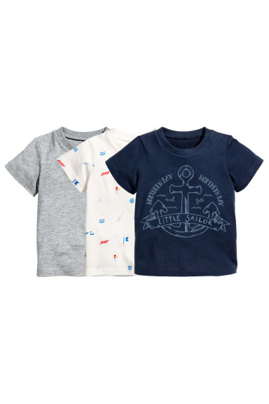 3-pack T-shirts - Dark blue/Anchor - Kids | H&M 1