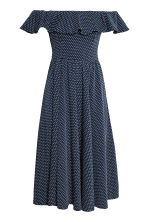 Off-the-shoulder dress - Dark blue/Spotted -  | H&M CN 2