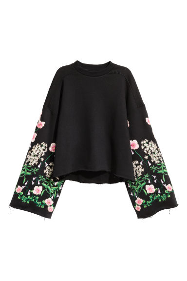 Embroidered sweatshirt - Black/Floral - Ladies | H&M CN 1