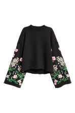 Embroidered sweatshirt - Black/Floral - Ladies | H&M 2