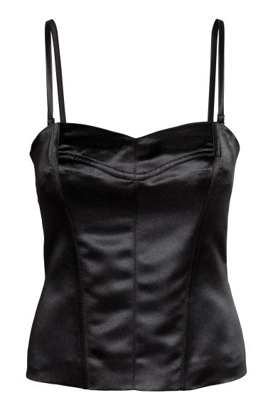 Satin bustier - Black - Ladies | H&M 1