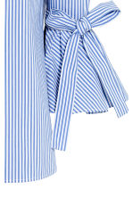 Off-the-shoulder blouse - Blue/Striped - Ladies | H&M CN 3
