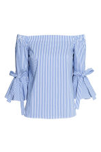 Off-the-shoulder blouse - Blue/Striped - Ladies | H&M CN 2