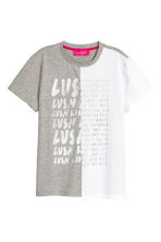 Block-coloured T-shirt - Grey marl/White -  | H&M 2
