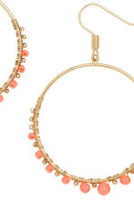 Round earrings - Gold/Coral - Ladies | H&M 2