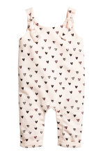 Patterned romper suit - Powder pink/Hearts -  | H&M 1