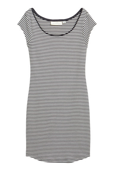 Fitted jersey dress - Dark grey/Striped -  | H&M CA 1
