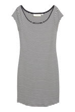 Fitted jersey dress - Dark grey/Striped - Ladies | H&M 1
