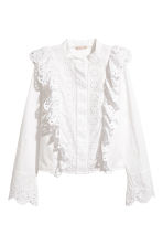 Embroidered cotton blouse - White - Ladies | H&M 2