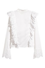 Embroidered cotton blouse - White - Ladies | H&M 3