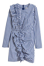 荷葉邊洋裝 - Blue/White/Checked -  | H&M 2