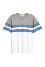 Block-patterned T-shirt - White/Grey blue - Men | H&M 2