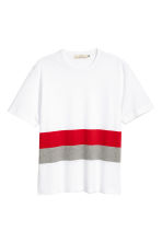 Block-patterned T-shirt - White/Red - Men | H&M 2