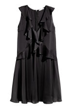 Flounced satin dress - Black - Ladies | H&M 2