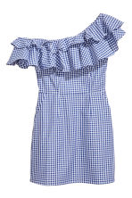 Short flounced dress - Blue/White/Checked - Ladies | H&M 2
