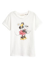 Printed T-shirt - White/Minnie Mouse - Ladies | H&M 2