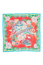 Patterned silk scarf - Coral - Ladies | H&M CN 2