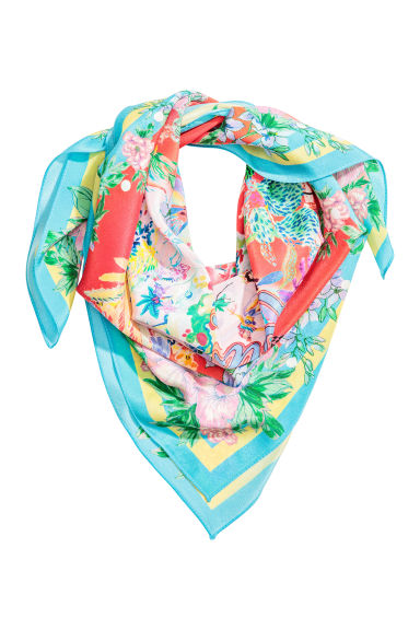 Patterned silk scarf - Coral - Ladies | H&M CN 1