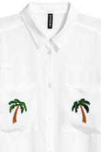 Shirt with appliqués - White/Palms - Ladies | H&M 3