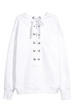Laced-back sweatshirt - White - Ladies | H&M CN 3