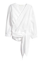 Cotton wrapover blouse - White -  | H&M CA 2
