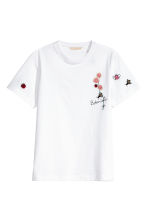T-shirt with embroidery - White - Ladies | H&M CA 2