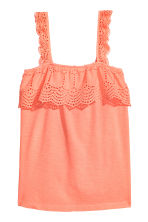 Top with broderie anglaise - Neon coral - Ladies | H&M 2