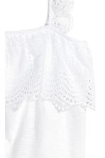 Top with broderie anglaise - White - Ladies | H&M 3