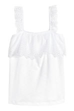 Top with broderie anglaise - White - Ladies | H&M CA 2
