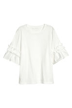 Top with flounced sleeves - White -  | H&M 2