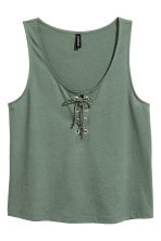 Vest top with lacing - Khaki green - Ladies | H&M 1
