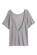 Silk-blend jersey top - Grey marl -  | H&M 3
