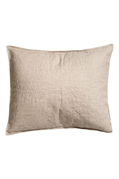 Washed linen pillowcase - Linen beige - Home All | H&M CN 1