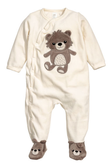Velours pyjama - Wit/teddybeer - KINDEREN | H&M BE 1