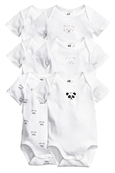 6-pack bodysuits - White/Panda - Kids | H&M 1