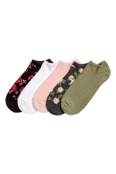 5-pack trainer socks - Black/Floral - Ladies | H&M 1