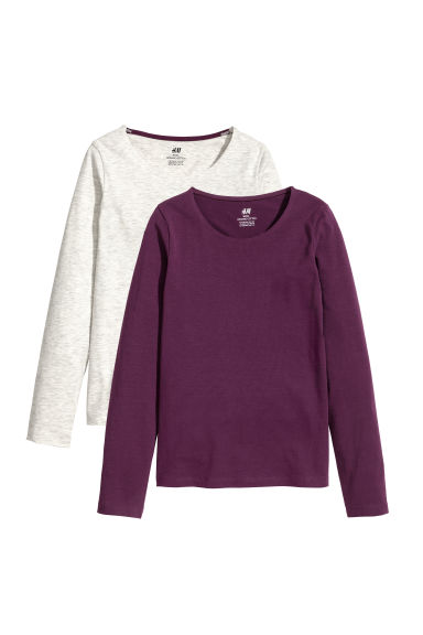 2-pack tops - Dark purple/Grey marl -  | H&M