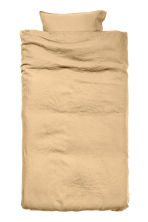 Washed linen duvet cover set - Light mustard yellow - Home All | H&M CN 1