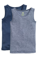 2-pack vest tops - Dark blue -  | H&M 2