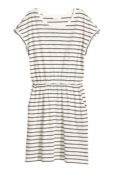 短袖平紋洋裝 - White/Striped - Ladies | H&M